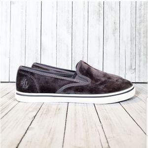 Ralph Lauren Velvet Monogram Slip On Sneaker
